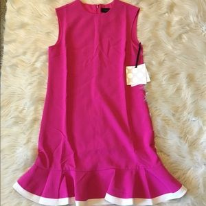 Victoria Beckman pink ruffle NWT dress
